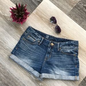 Mossimo Jean Shorts Blue Cuffed 5-Pocket Low-Rise